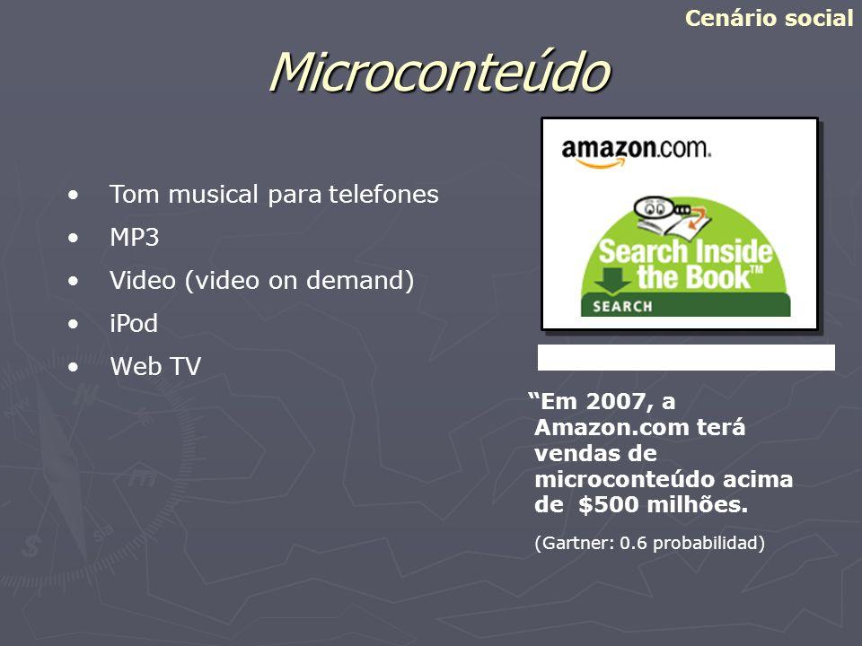Amazon.com Microconteúdo Em 2007, a Amazon.com terá vendas de microconteúdo acima de $500 milhões. (Gartner: 0.6 probabilidad) Cenário social Tom musi