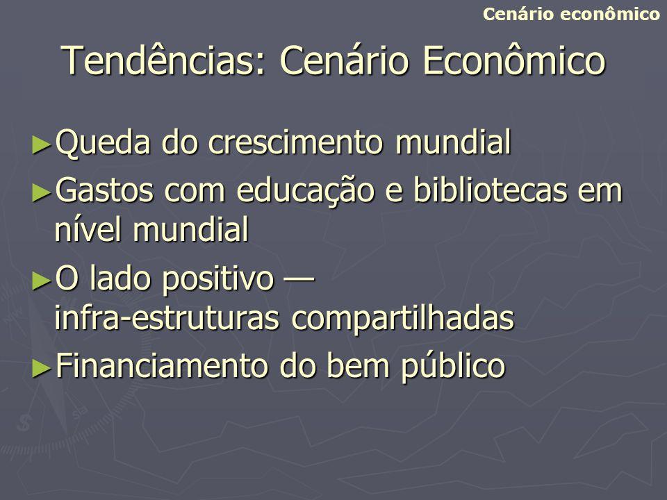 Tendências: Cenário Econômico Queda do crescimento mundial Queda do crescimento mundial Gastos com educação e bibliotecas em nível mundial Gastos com