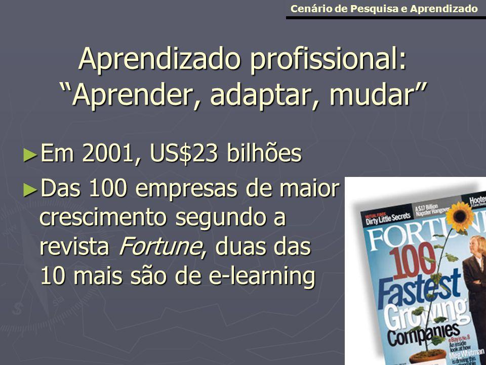 Aprendizado profissional: Aprender, adaptar, mudar Em 2001, US$23 bilhões Em 2001, US$23 bilhões Das 100 empresas de maior crescimento segundo a revis