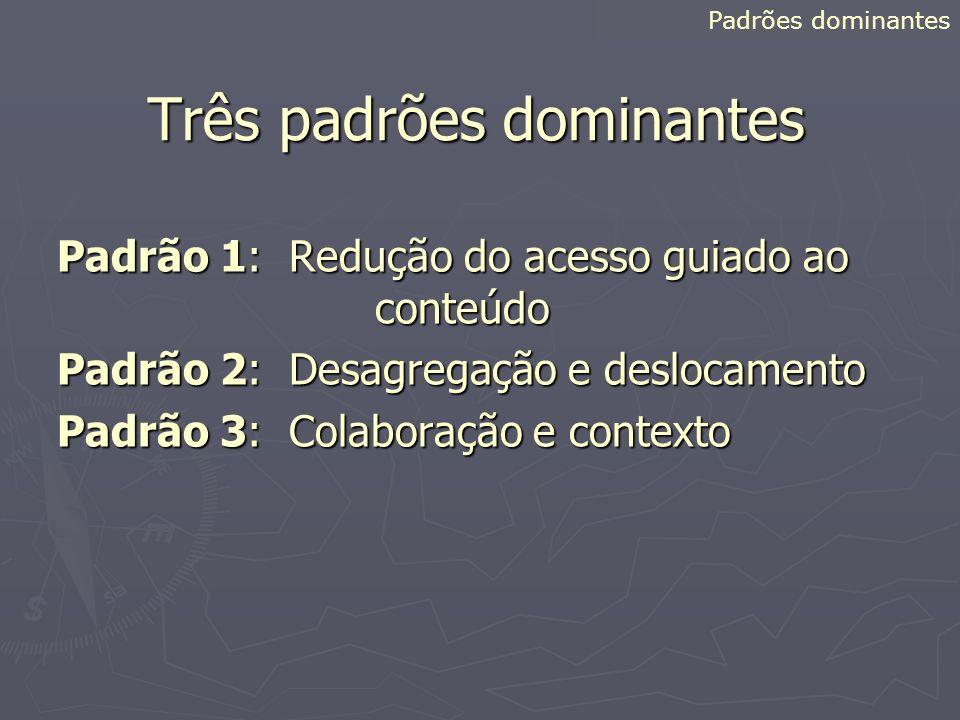 Três padrões dominantes Padrão 1: Redução do acesso guiado ao conteúdo Padrão 2: Desagregação e deslocamento Padrão 3: Colaboração e contexto Padrões