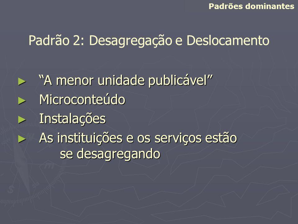 A menor unidade publicável A menor unidade publicável Microconteúdo Microconteúdo Instalações Instalações As instituições e os serviços estão se desag