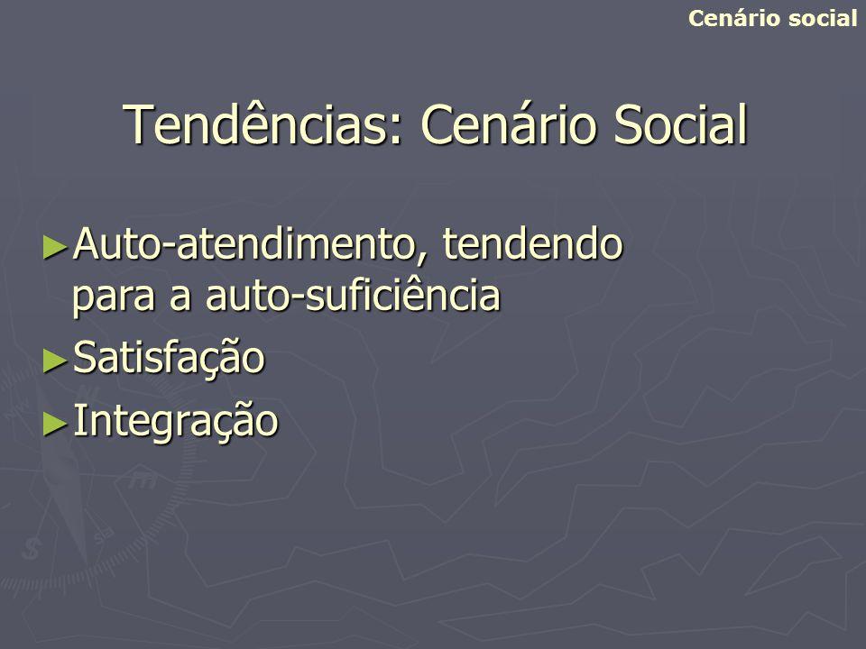 Tendências: Cenário Social Auto-atendimento, tendendo para a auto-suficiência Auto-atendimento, tendendo para a auto-suficiência Satisfação Satisfação