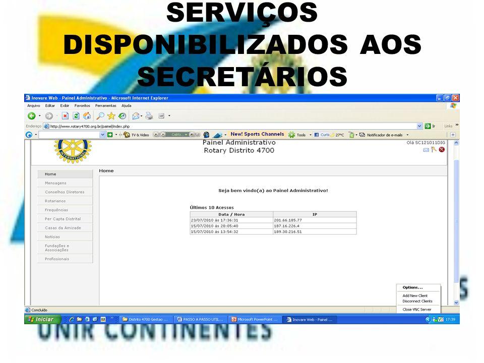 SERVIÇOS DISPONIBILIZADOS AOS SECRETÁRIOS