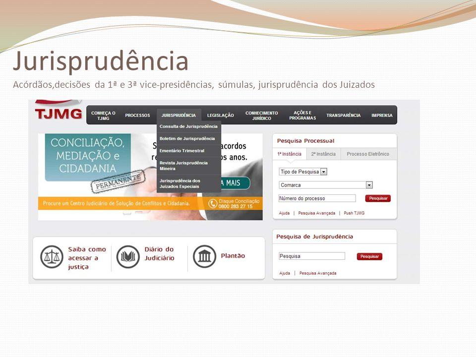 Jurisprudência Acórdãos,decisões da 1ª e 3ª vice-presidências, súmulas, jurisprudência dos Juizados