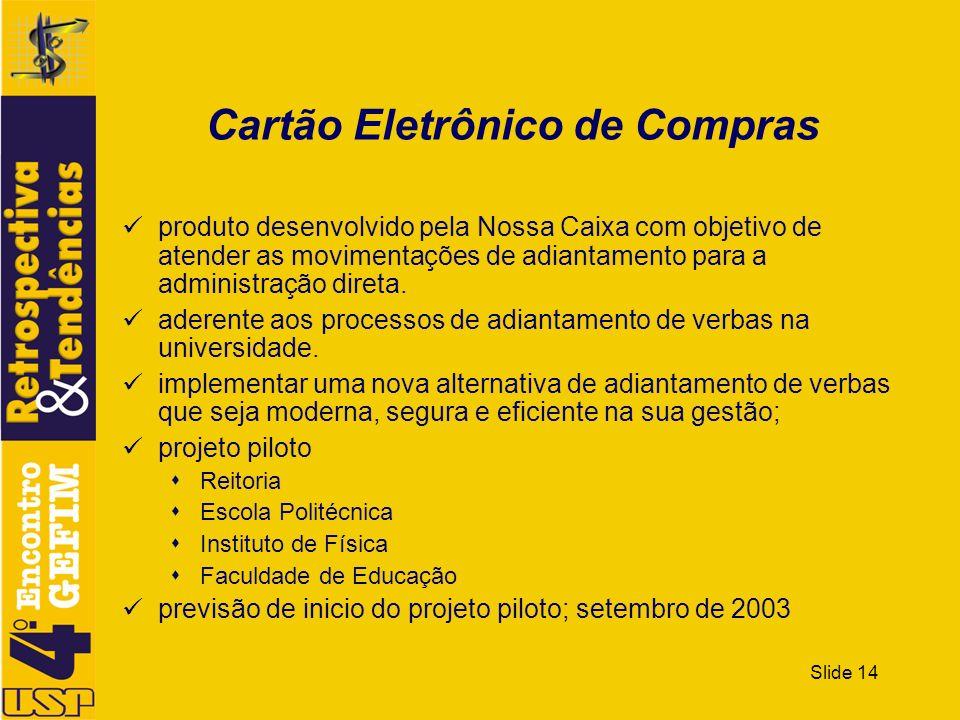 Slide 14 Cartão Eletrônico de Compras produto desenvolvido pela Nossa Caixa com objetivo de atender as movimentações de adiantamento para a administra