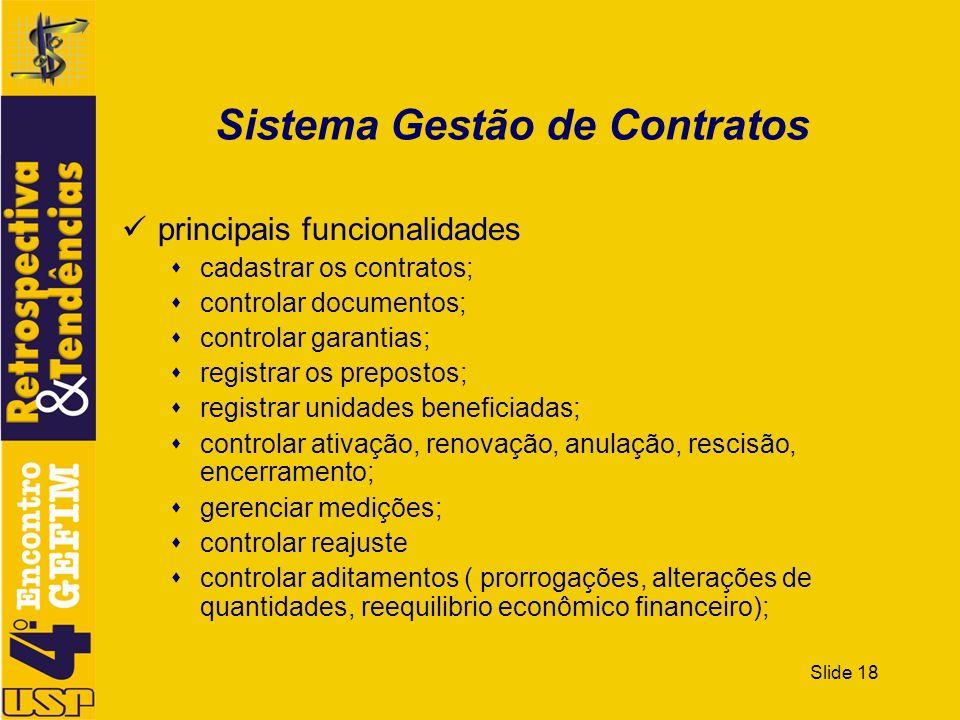 Slide 18 Sistema Gestão de Contratos principais funcionalidades cadastrar os contratos; controlar documentos; controlar garantias; registrar os prepos