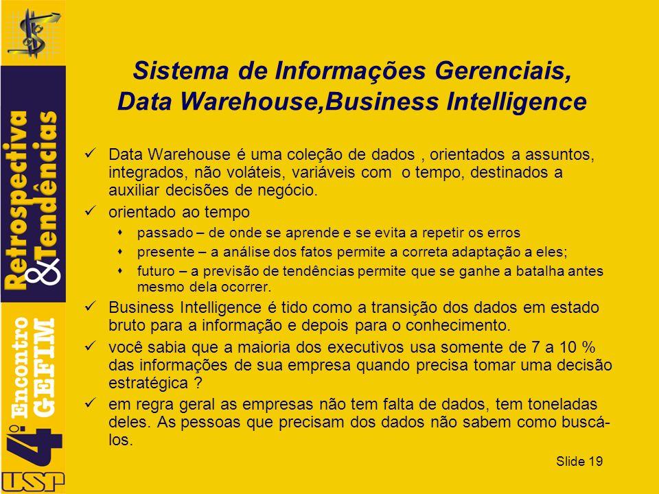 Slide 19 Sistema de Informações Gerenciais, Data Warehouse,Business Intelligence Data Warehouse é uma coleção de dados, orientados a assuntos, integra