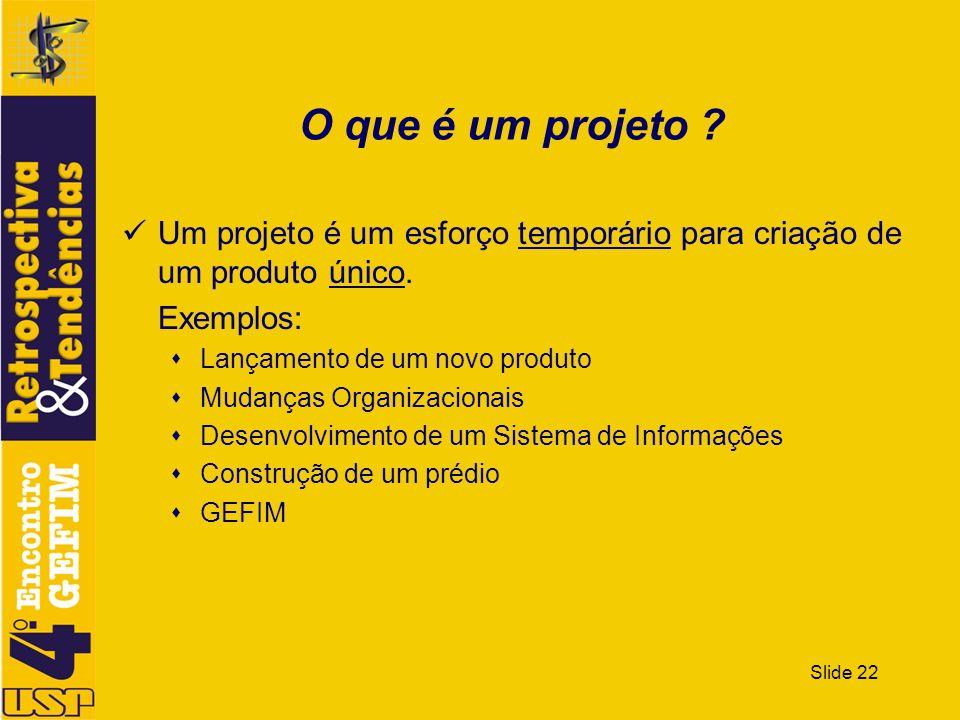 Slide 22 O que é um projeto ? Um projeto é um esforço temporário para criação de um produto único. Exemplos: Lançamento de um novo produto Mudanças Or