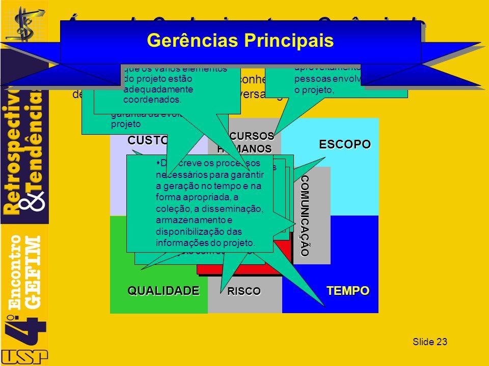 Slide 23 Áreas do Conhecimento na Gerência de Projetos Segundo o PMBok a área do conhecimento na gestão de projetos está dividida em diversas gerência