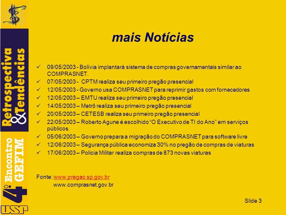Slide 3 mais Notícias 09/05/2003 - Bolívia implantará sistema de compras governamentais similar ao COMPRASNET. 07/05/2003 - CPTM realiza seu primeiro