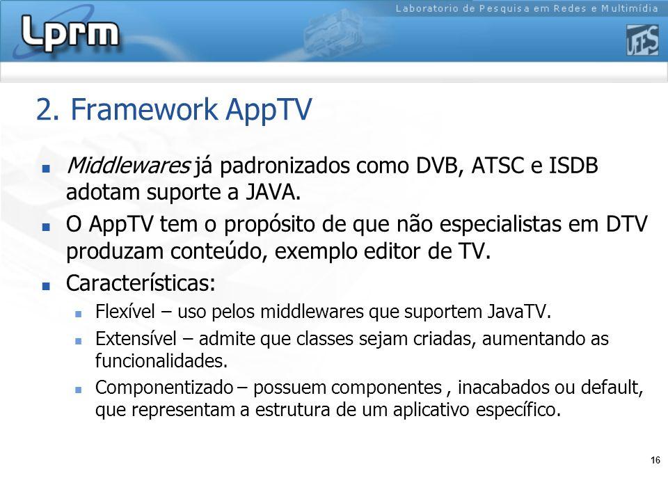 16 2. Framework AppTV Middlewares já padronizados como DVB, ATSC e ISDB adotam suporte a JAVA. O AppTV tem o propósito de que não especialistas em DTV
