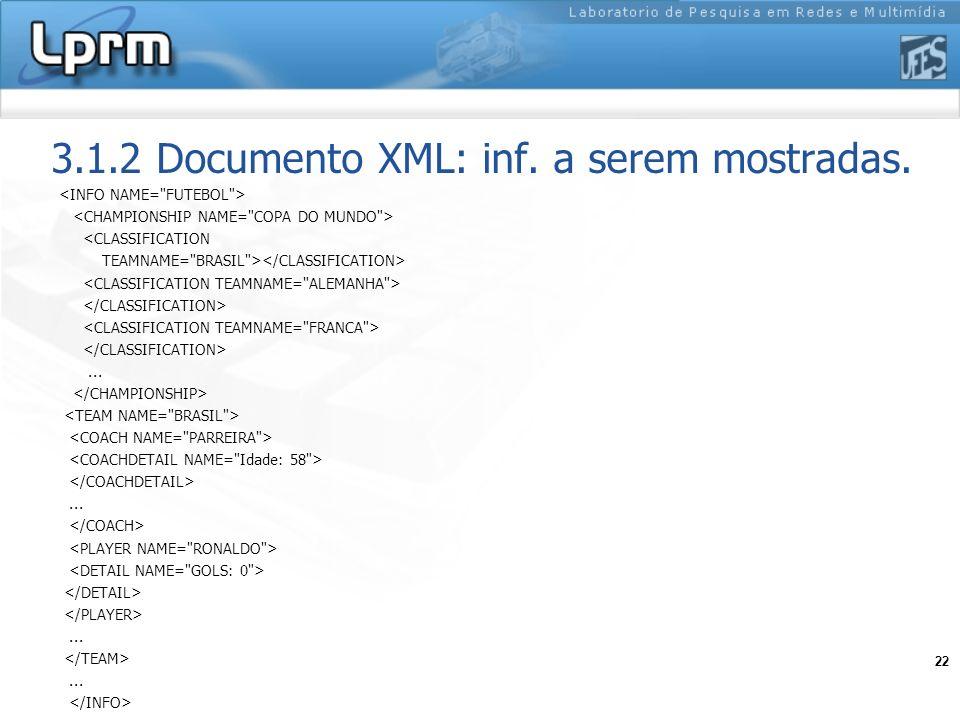 22 3.1.2 Documento XML: inf. a serem mostradas. <CLASSIFICATION TEAMNAME=