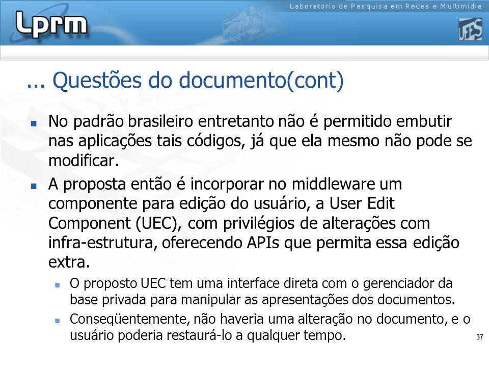 37... Questões do documento(cont) No padrão brasileiro entretanto não é permitido embutir nas aplicações tais códigos, já que ela mesmo não pode se mo