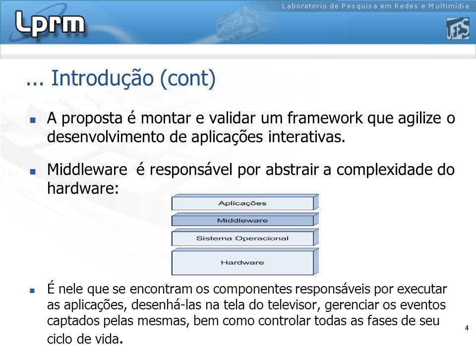 4... Introdução (cont) A proposta é montar e validar um framework que agilize o desenvolvimento de aplicações interativas. Middleware é responsável po