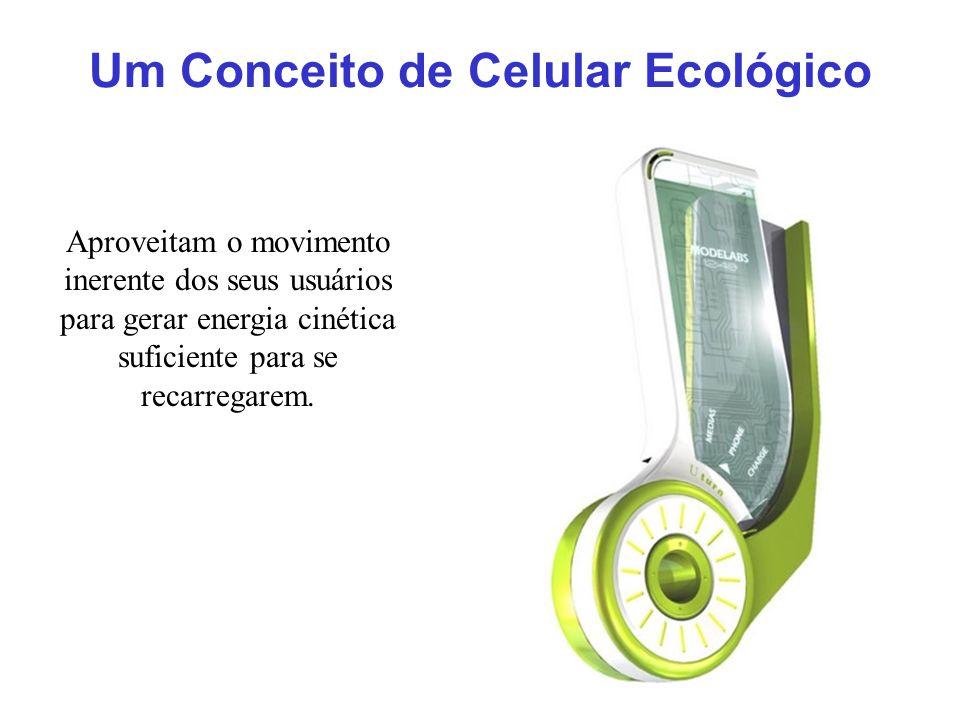 Um Conceito de Celular Ecológico Aproveitam o movimento inerente dos seus usuários para gerar energia cinética suficiente para se recarregarem.