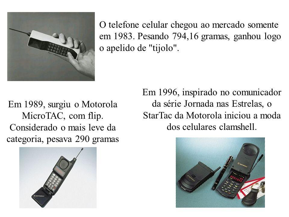 O telefone celular chegou ao mercado somente em 1983. Pesando 794,16 gramas, ganhou logo o apelido de