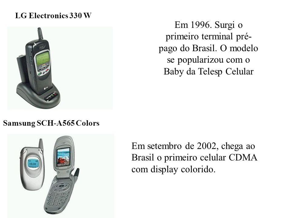 Em 1996. Surgi o primeiro terminal pré- pago do Brasil. O modelo se popularizou com o Baby da Telesp Celular Samsung SCH-A565 Colors LG Electronics 33