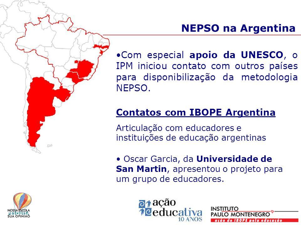 NEPSO na Argentina Com especial apoio da UNESCO, o IPM iniciou contato com outros países para disponibilização da metodologia NEPSO. Contatos com IBOP