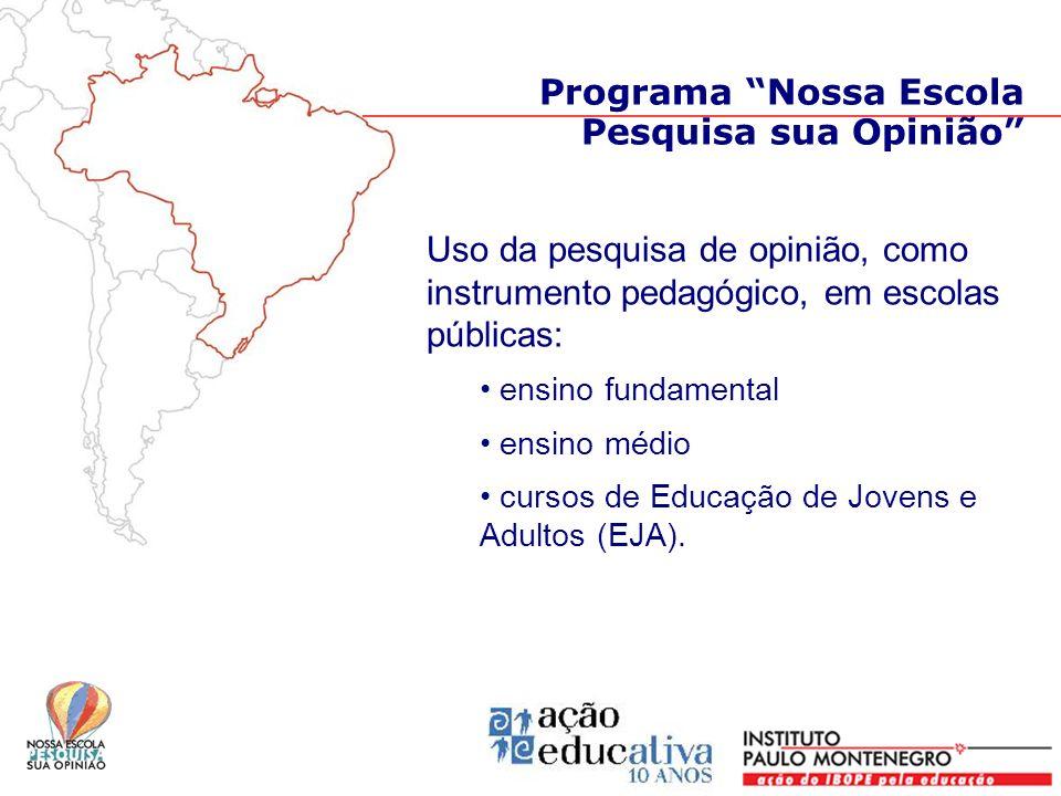 Uso da pesquisa de opinião, como instrumento pedagógico, em escolas públicas: ensino fundamental ensino médio cursos de Educação de Jovens e Adultos (