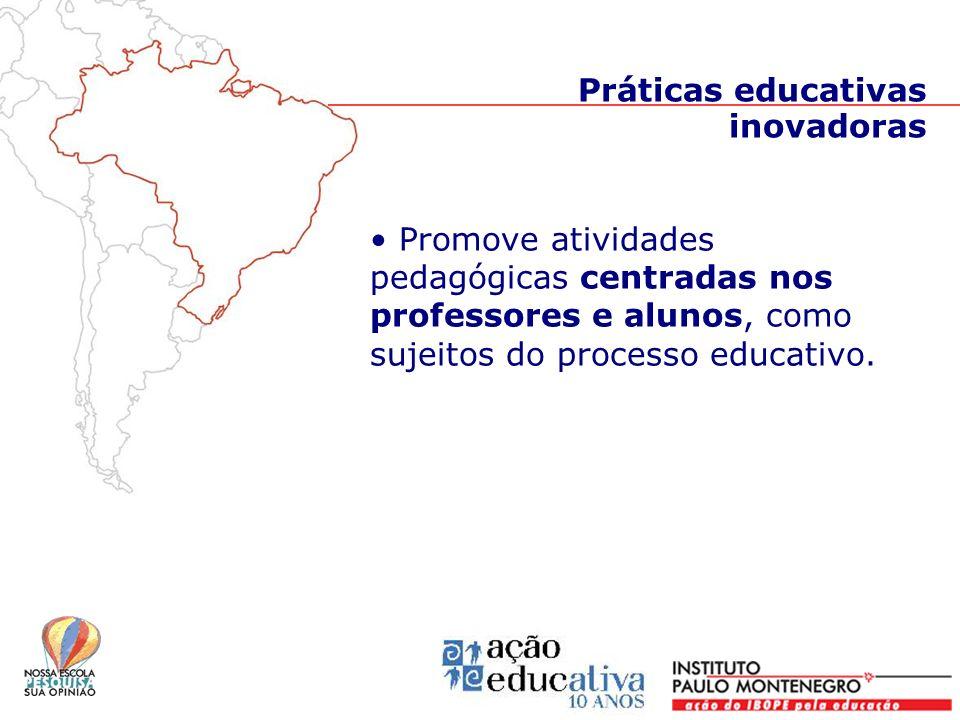 Práticas educativas inovadoras Promove atividades pedagógicas centradas nos professores e alunos, como sujeitos do processo educativo.