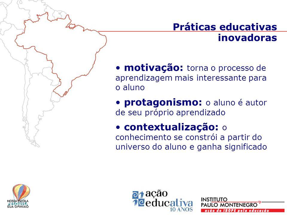 motivação: torna o processo de aprendizagem mais interessante para o aluno protagonismo: o aluno é autor de seu próprio aprendizado contextualização: