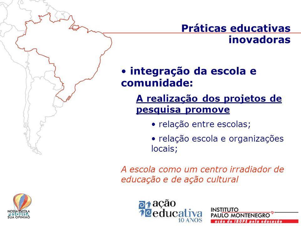 integração da escola e comunidade: A realização dos projetos de pesquisa promove relação entre escolas; relação escola e organizações locais; A escola
