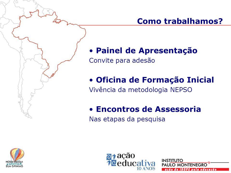 Painel de Apresentação Convite para adesão Oficina de Formação Inicial Vivência da metodologia NEPSO Encontros de Assessoria Nas etapas da pesquisa Co