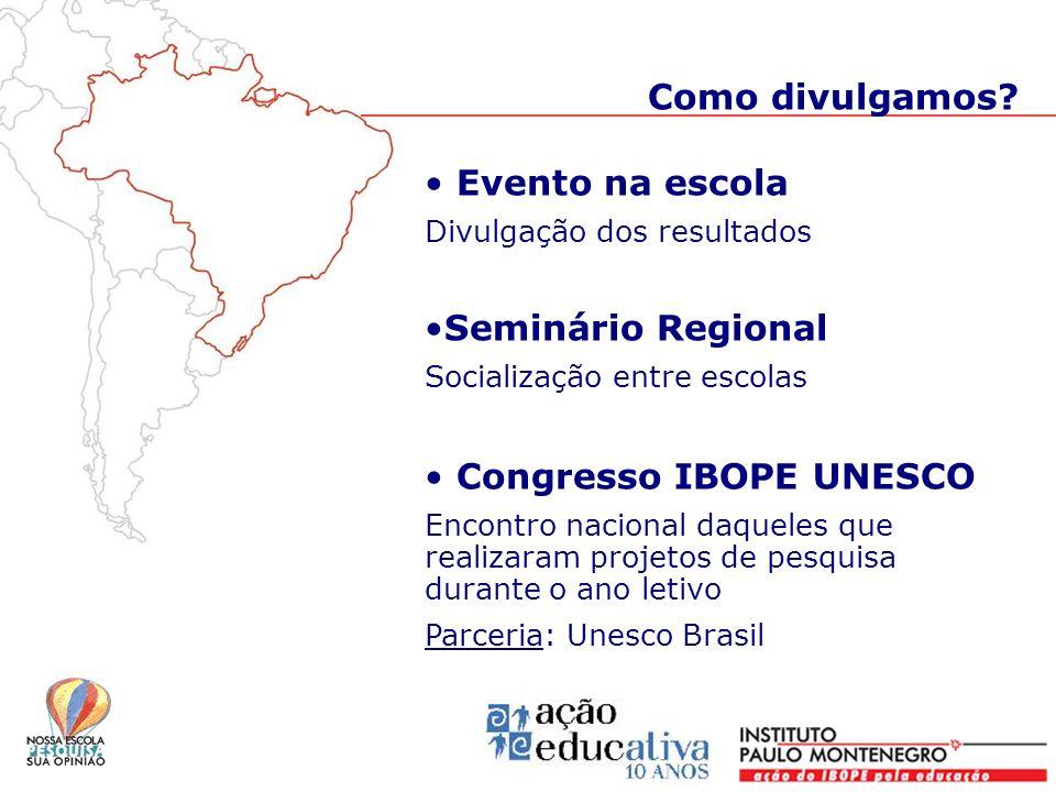 Evento na escola Divulgação dos resultados Seminário Regional Socialização entre escolas Congresso IBOPE UNESCO Encontro nacional daqueles que realiza