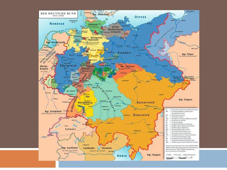 Situação após a derrota de Napoleão Liga Alemã União pouco coesa Grande nº de pequenos estados autônomos Liderados pela Áustria e Prússia Parlamento de Frankfurt Nada decidia, sem consenso da Áustria e Prússia (Grande decepção dos alemães pobres e humildes)