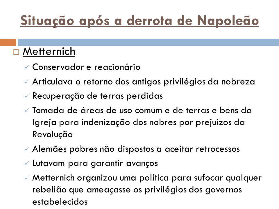 Situação após a derrota de Napoleão Metternich Conservador e reacionário Articulava o retorno dos antigos privilégios da nobreza Recuperação de terras