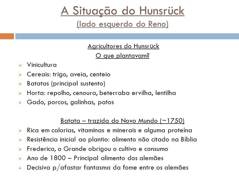 A Situação do Hunsrück (lado esquerdo do Reno) Agricultores do Hunsrück O que plantavam? Vinicultura Cereais: trigo, aveia, centeio Batatas (principal