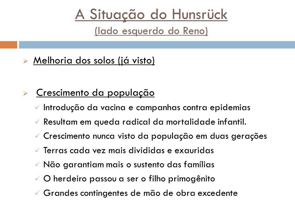 A Situação do Hunsrück (lado esquerdo do Reno) Melhoria dos solos (já visto) Crescimento da população Introdução da vacina e campanhas contra epidemias Resultam em queda radical da mortalidade infantil.
