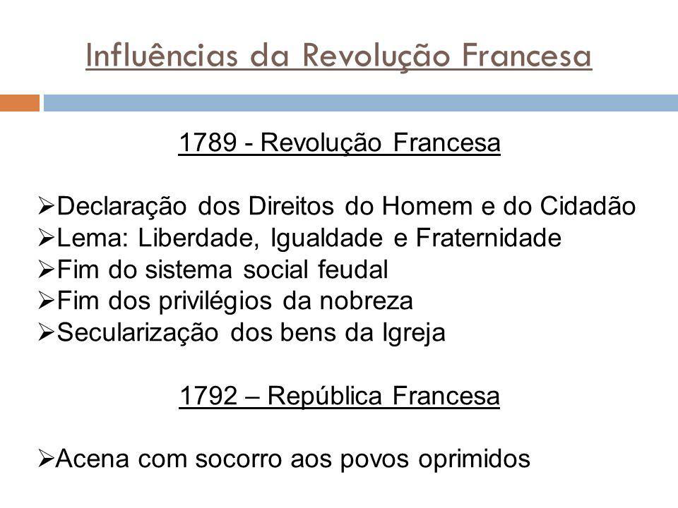 Influências da Revolução Francesa 1789 - Revolução Francesa Declaração dos Direitos do Homem e do Cidadão Lema: Liberdade, Igualdade e Fraternidade Fi