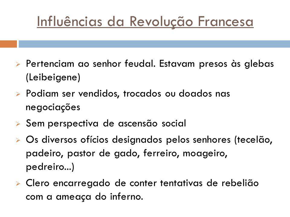 Influências da Revolução Francesa Pertenciam ao senhor feudal. Estavam presos às glebas (Leibeigene) Podiam ser vendidos, trocados ou doados nas negoc