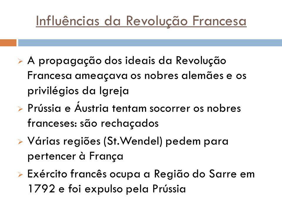 Influências da Revolução Francesa A propagação dos ideais da Revolução Francesa ameaçava os nobres alemães e os privilégios da Igreja Prússia e Áustri