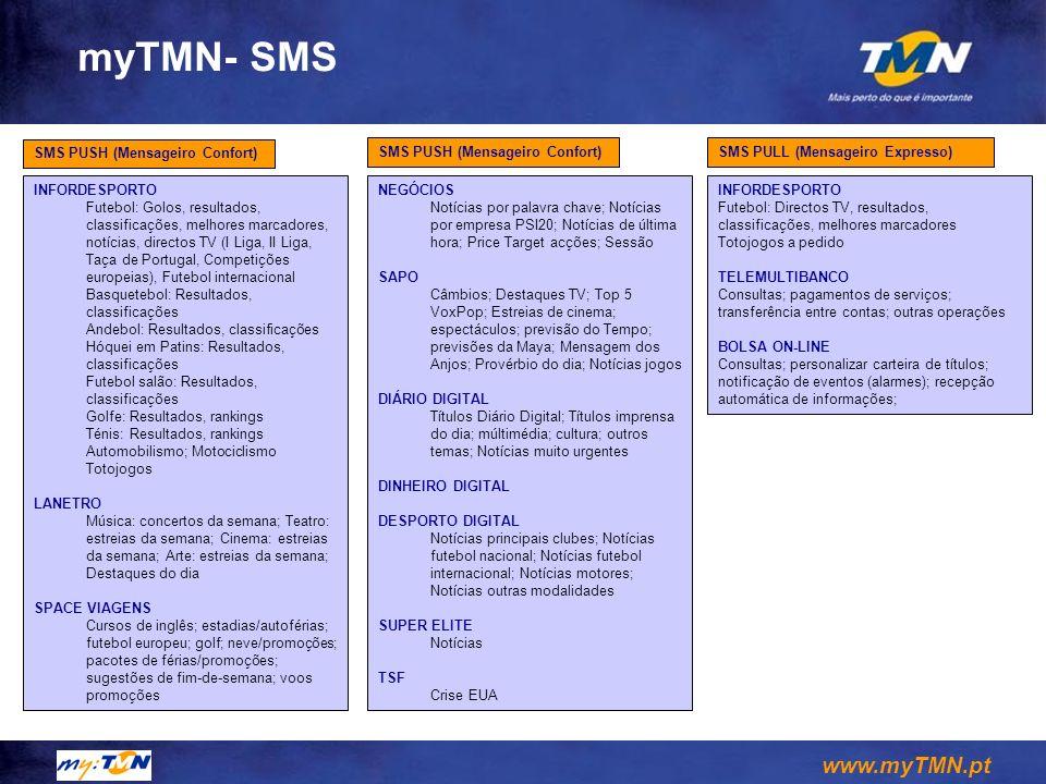 www.myTMN.pt myTMN- SMS SMS PUSH (Mensageiro Confort) INFORDESPORTO Futebol: Golos, resultados, classificações, melhores marcadores, notícias, directo