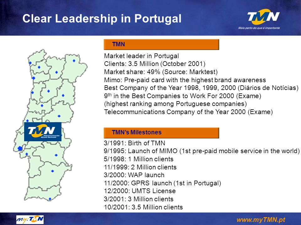 www.myTMN.pt Leadership in Brazil Telesp Celular (são Paulo) Largest mobile operator in South America Clients: 5 Millions (October 2001) Market Share: 64% Penetration rate SP: 21% (15% Brazil) WAP clients: 1,4 millions (30%) Global Telecom (Paraná, Stª Catarina) Clients: 628 thousand Market share: 29% First operator to launch WAP in Brazil Telesp Celular and Global Telecom reach a population above 51 million people and 45% of Brazilian s GDP