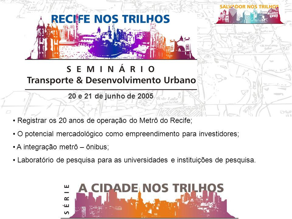 20 e 21 de junho de 2005 Registrar os 20 anos de operação do Metrô do Recife; O potencial mercadológico como empreendimento para investidores; A integração metrô – ônibus; Laboratório de pesquisa para as universidades e instituições de pesquisa.