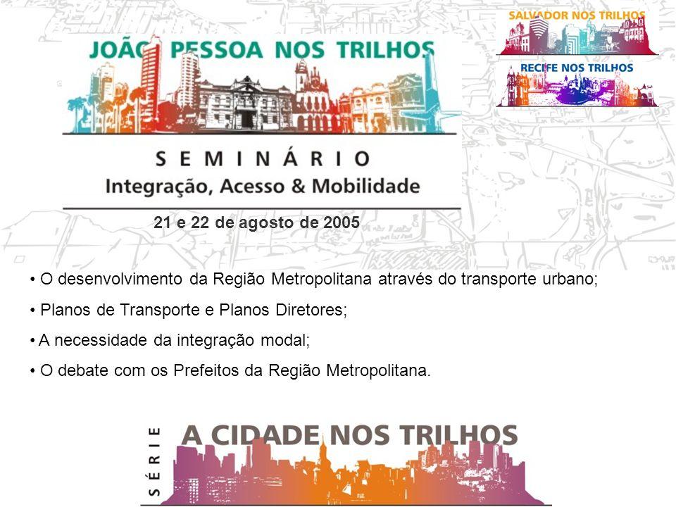 21 e 22 de agosto de 2005 O desenvolvimento da Região Metropolitana através do transporte urbano; Planos de Transporte e Planos Diretores; A necessidade da integração modal; O debate com os Prefeitos da Região Metropolitana.