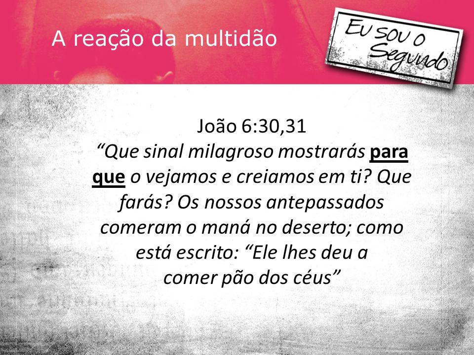 A resposta de Jesus João 6.32-35 Digo-lhes a verdade: Não foi Moisés quem lhes deu pão do céu, mas é meu Pai quem lhes dá o verdadeiro pão do céu.