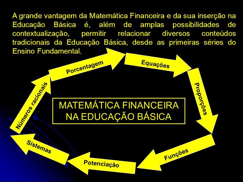 A grande vantagem da Matemática Financeira e da sua inserção na Educação Básica é, além de amplas possibilidades de contextualização, permitir relacionar diversos conteúdos tradicionais da Educação Básica, desde as primeiras séries do Ensino Fundamental.