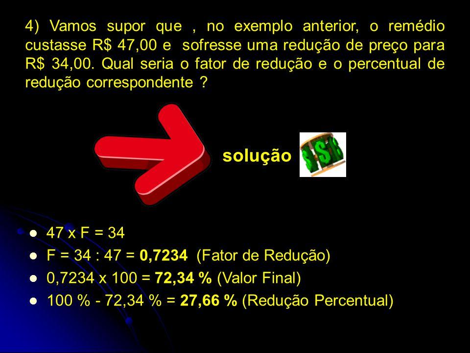 4) Vamos supor que, no exemplo anterior, o remédio custasse R$ 47,00 e sofresse uma redução de preço para R$ 34,00.