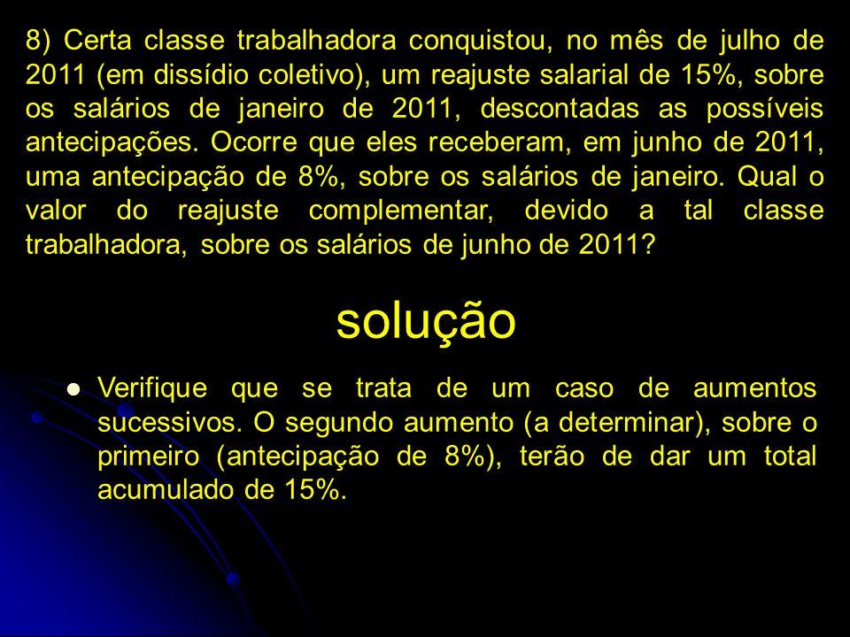 8) Certa classe trabalhadora conquistou, no mês de julho de 2011 (em dissídio coletivo), um reajuste salarial de 15%, sobre os salários de janeiro de 2011, descontadas as possíveis antecipações.