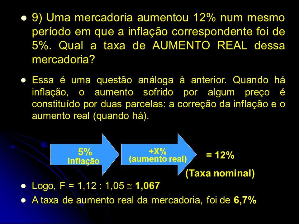 9) Uma mercadoria aumentou 12% num mesmo período em que a inflação correspondente foi de 5%.