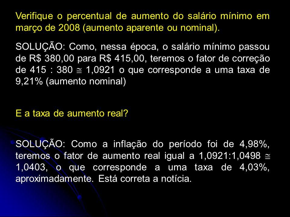 Verifique o percentual de aumento do salário mínimo em março de 2008 (aumento aparente ou nominal).