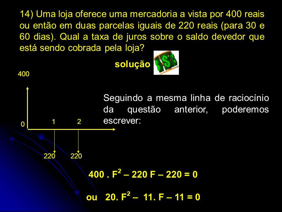 400. F 2 – 220 F – 220 = 0 ou 20. F 2 – 11.
