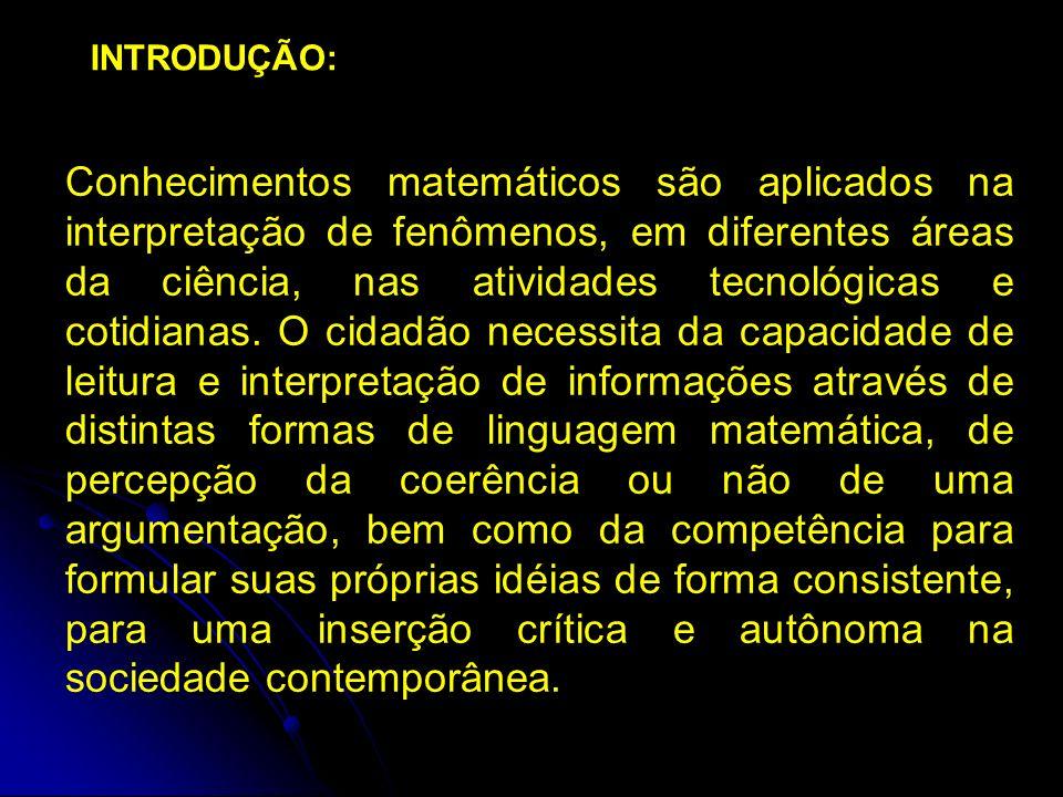 Conhecimentos matemáticos são aplicados na interpretação de fenômenos, em diferentes áreas da ciência, nas atividades tecnológicas e cotidianas.