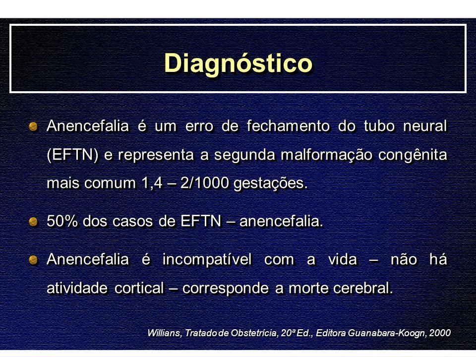 DiagnósticoDiagnóstico Anencefalia é um erro de fechamento do tubo neural (EFTN) e representa a segunda malformação congênita mais comum 1,4 – 2/1000