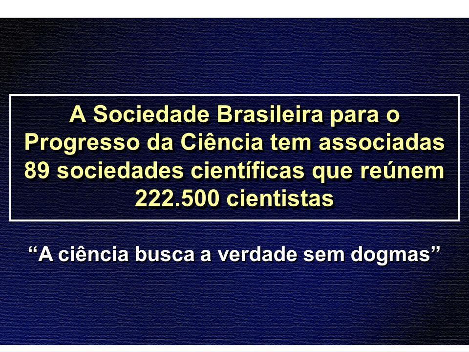 A Sociedade Brasileira para o Progresso da Ciência tem associadas 89 sociedades científicas que reúnem 222.500 cientistas A ciência busca a verdade se