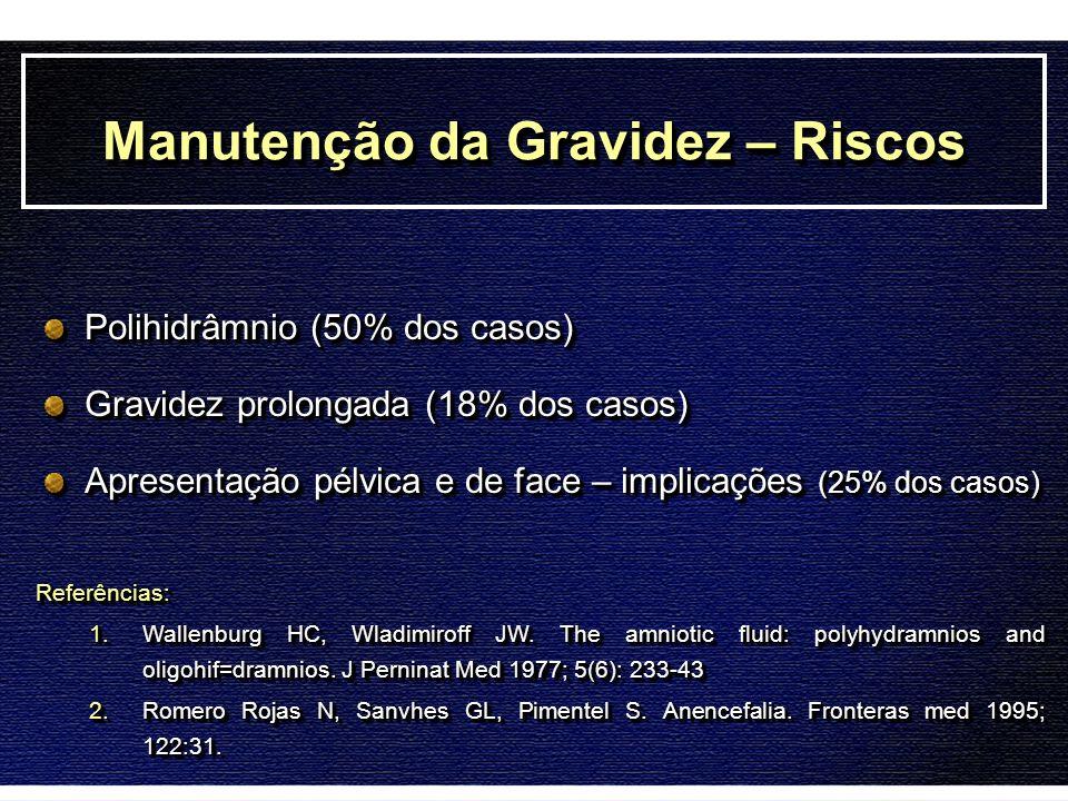 Manutenção da Gravidez – Riscos Polihidrâmnio (50% dos casos) Gravidez prolongada (18% dos casos) Apresentação pélvica e de face – implicações (25% do